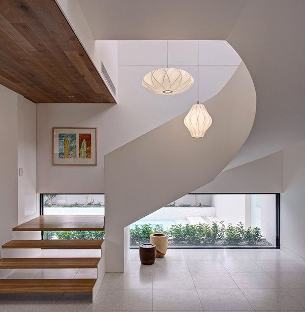 Living Room. Marvelous Contemporary And Tepid Luxury House Interior Inspiring Sobriety In Australia: Oval And Tube Cream Plain Pendant Lamp Brown Line Pattern Wooden Staircase Circular White Plain Concrete Stairs Painting With Glass Frame White Plain Concrete Wall Rectangular Transparent Glass Wall Box ~ vitmol