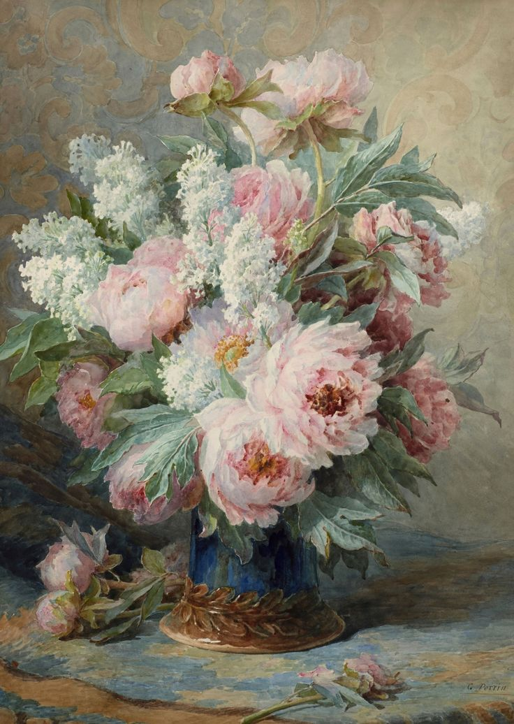 Gabriel Perrin (19th century) - Peonies and lilacs, watercolour, 64,5 x 47 cm.