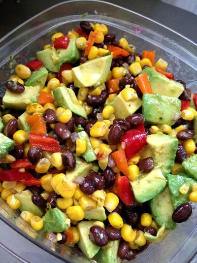 Guacamole Salad- Looks Delicious avocados, yellow red bell pepper, black beans, corn, red onion, jalapeño, cilantro, lime zest juice