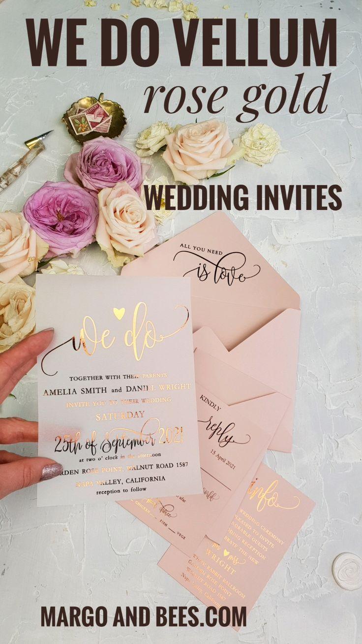 Rose Gold Vellum Wedding Invitations Blush Pink Envelopes We Do