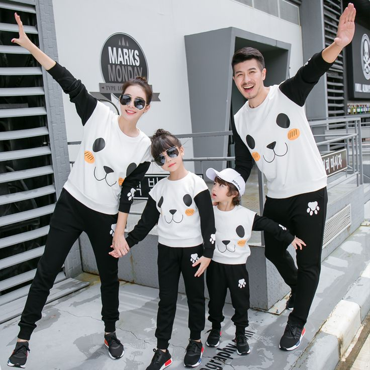 Panda Family Matching Outfits Mother Daughter Father Son Clothes Family Clothing Sets Parent-Child Clothing Family Set 3XL TL46