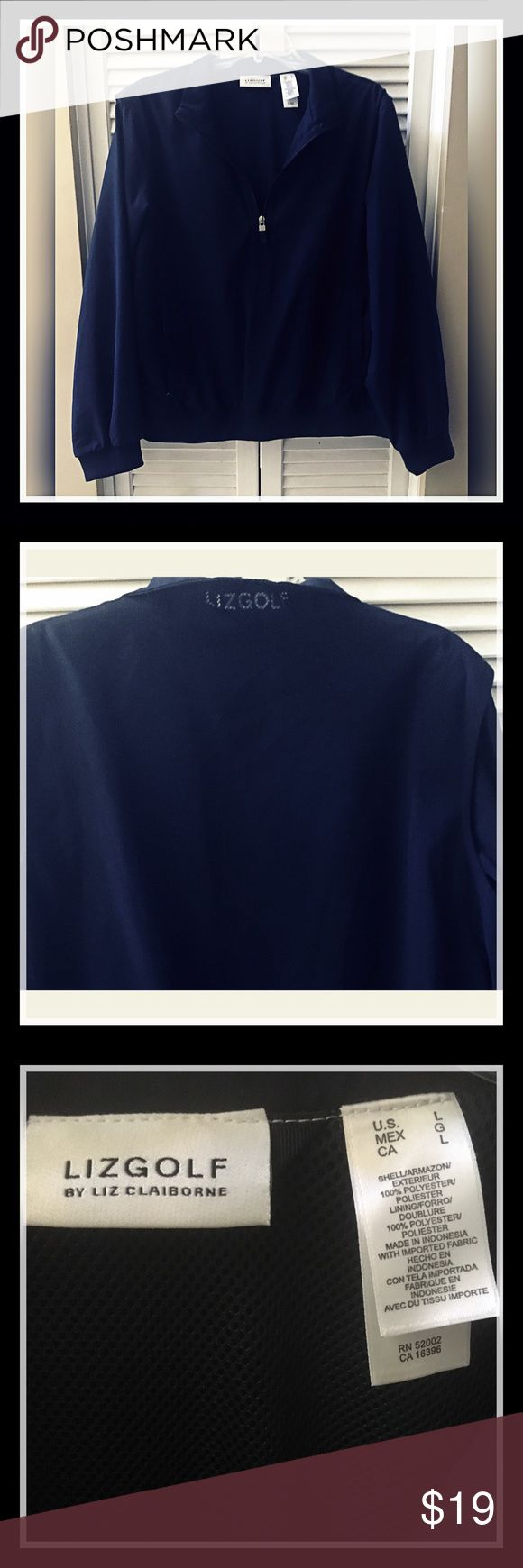 Liz Golf by Liz Claiborne - Sz L Navy Pullover Liz Golf by Liz Claiborne - Sz L Navy Pullover Fully Lined Windbreaker. Worn once! Excellent used condition, open to offers 😃 Liz Claiborne Jackets & Coats