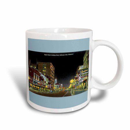 3dRose High Street Looking East, Jefferson City, Missouri Night Scene, Ceramic Mug, 15-ounce