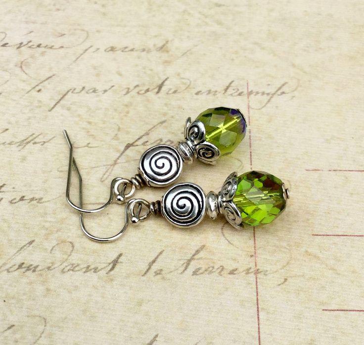 Green Earrings Olive Green Earrings Silver Earrings Czech