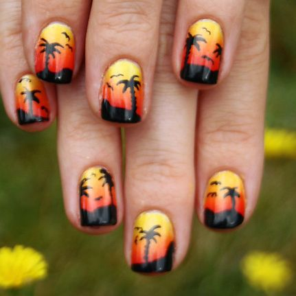 A Tropical Sunset.    Nail art by original pinner. (for Emily's beachy vacation mani inspiration)