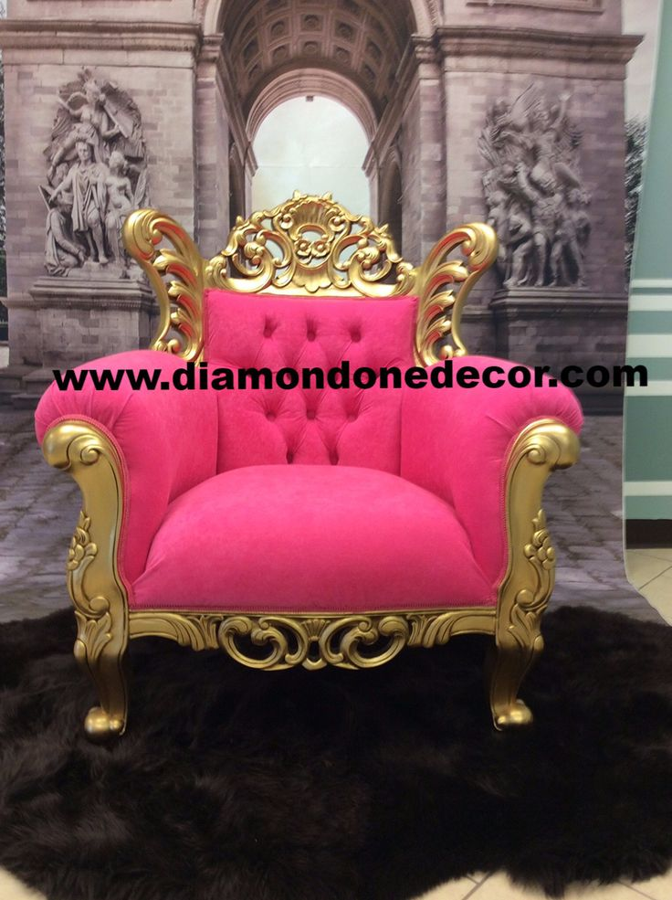 Hot Pink Fabulous Baroque Louis XV French Reproduction Rococo Chair