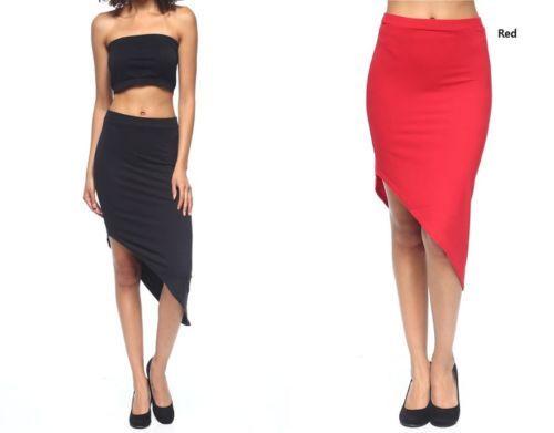Womens-Sexy-Solid-Asymmetrical-Midi-Skirt-S-M-L
