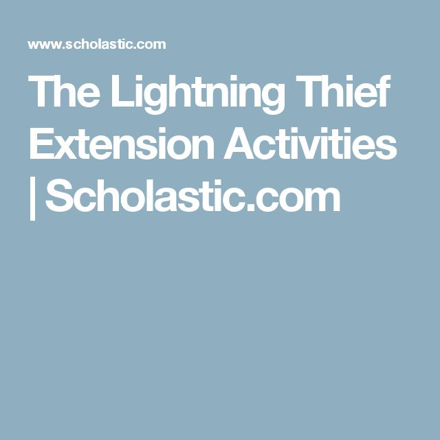 The Lightning Thief Extension Activities   Scholastic.com