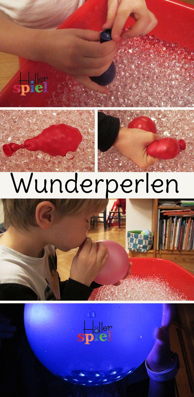 Wunderperlen und Luftballons = stundenlange Beschäftigung für Kinder :) Knautschbälle selber machen oder faszinierende Spiele mit Licht... Auch eine super Idee für den Kindergarten!