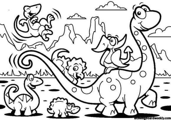 Coloring Page Dinosaur Dinosaur Coloring Pages Cartoon Coloring Pages Dinosaur Coloring