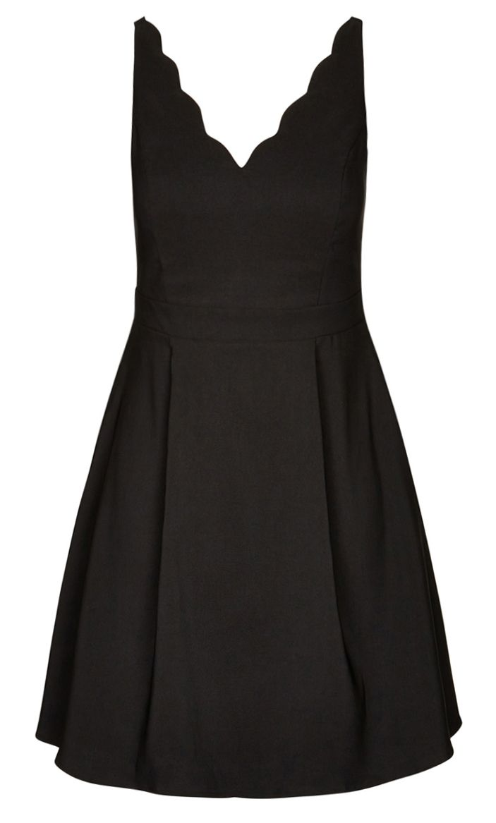 City Chic - SCALLOPED EDGE DRESS - Women's Plus Size Fashion