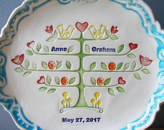 Personalized Couple Gift / Anniversary Gift / Tree of life in blossom / Wedding Plate / Family Tree Plate / Custom Plate / Wedding Gift