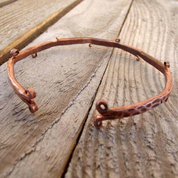 Rustic copper bracelet for men, copper men bracelet, hammered men bracelet with curls, rustic men bracelet, rustic cuff.