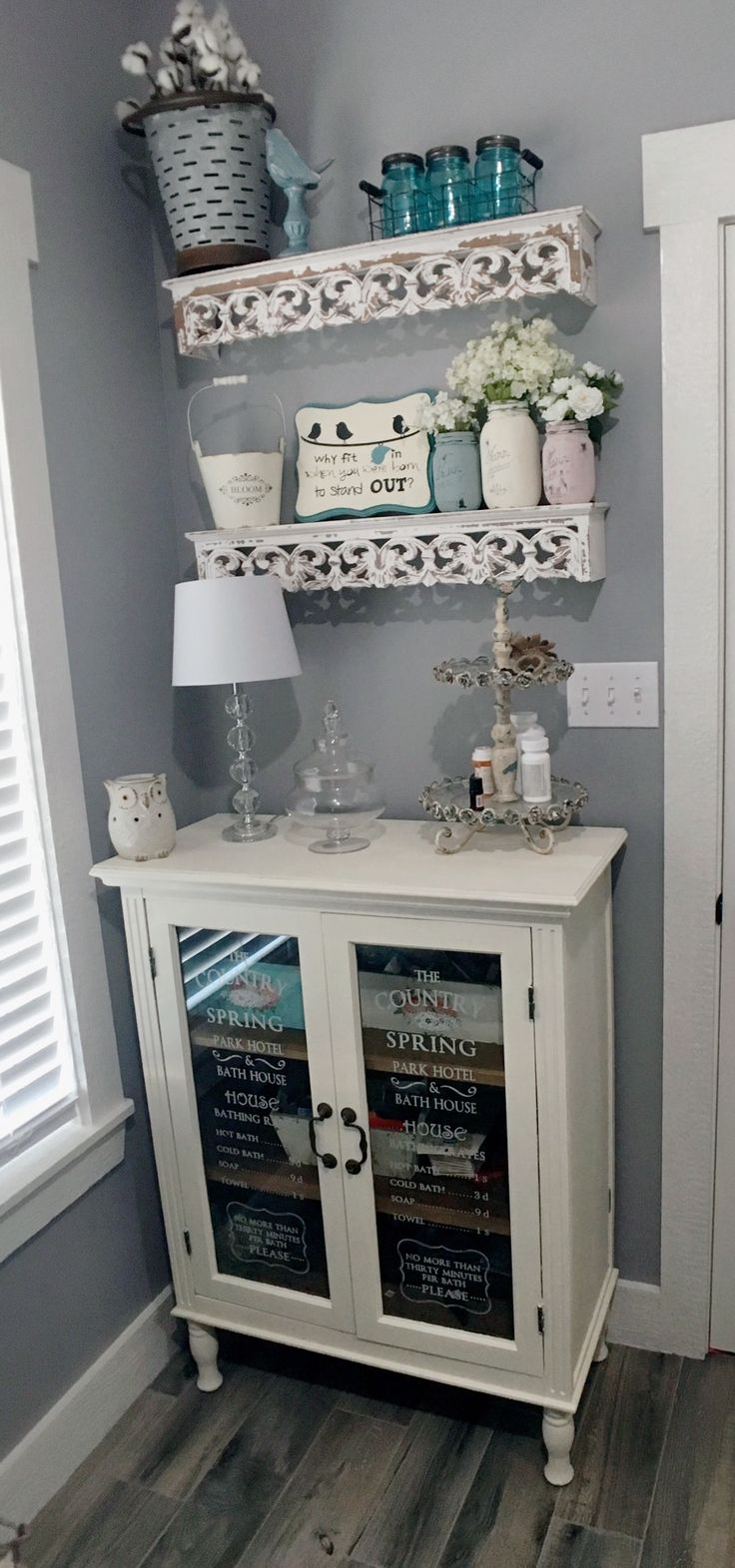Farmhouse Bathroom, French Country Bathroom, DIY Bathroom, Hobby Lobby Furniture painted, bathroom cabinet, chalk paint
