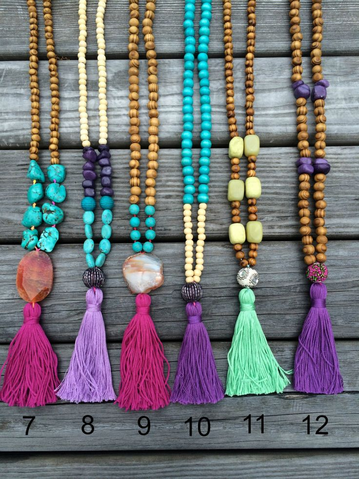Tassel Necklace  Beaded Necklace  Long wooden beaded