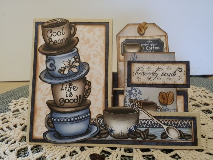 Coffee Card using the Heartfelt Creations Coffee Talk Papers, Stamps and The Sizzix Thinlits Step Up Card Die. All products are from www.scrapadabadoo.com