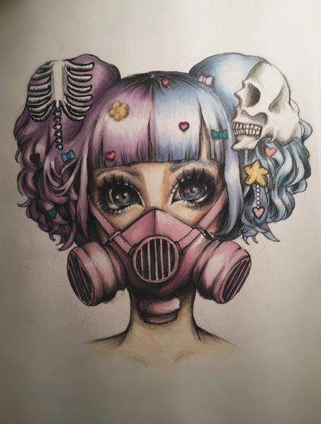 Creepy Gas Mask Drawings Girl