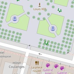 Place des Vosges in Paris, France. 'Place des Vosges' sight map and information. List of guide(s) containing this sight