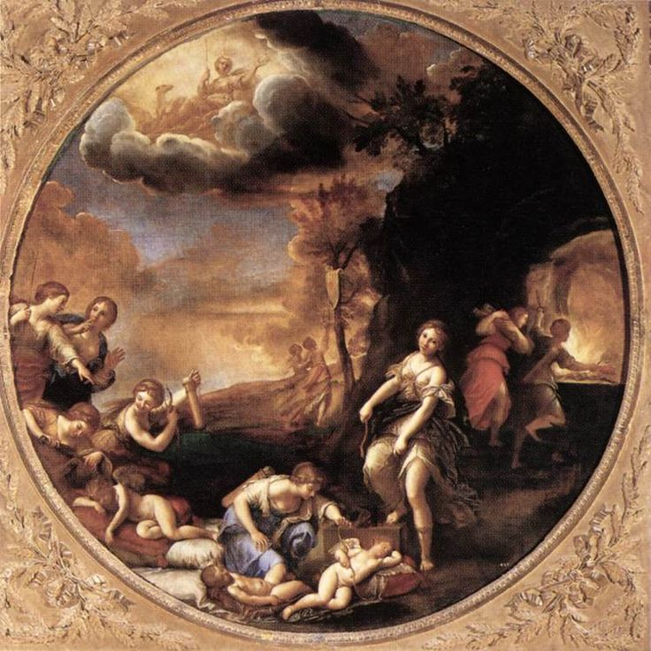 ALBANI, Francesco Winter (The Triumph of Diana) 1616-17 Oil on canvas, diameter 154 cm Galleria Borghese, Rome