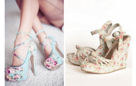 DIY floral wedges you can make yourself. Save money and buy some heels from those thrift shops that need recovering looks like its rewarding :-) From She's A Betty