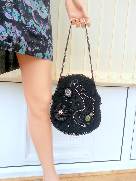 Victorian purse Black lace  purse Black coin purse by Blackpassion