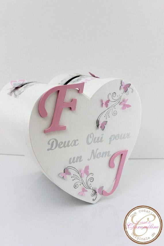 Urne de mariage rose,blanche et argent thème papillons.