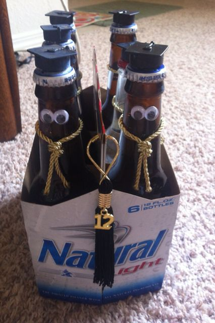 Graduation gag gift for a Frat boy ... hats were from bottles of bubbles at Dollar Tree & the sashes were the cord from a Crown bottle bag.