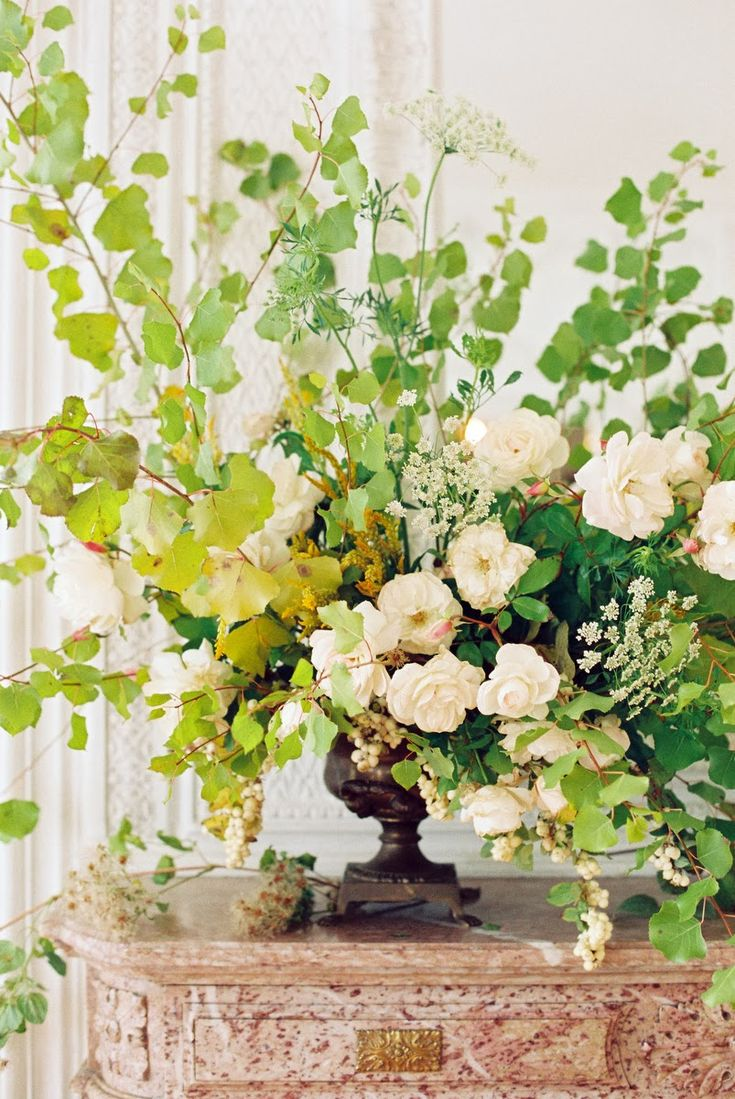 Roses, Queen Anne's Lace, Snowberries, and branches - Honey of a Thousand Flowers