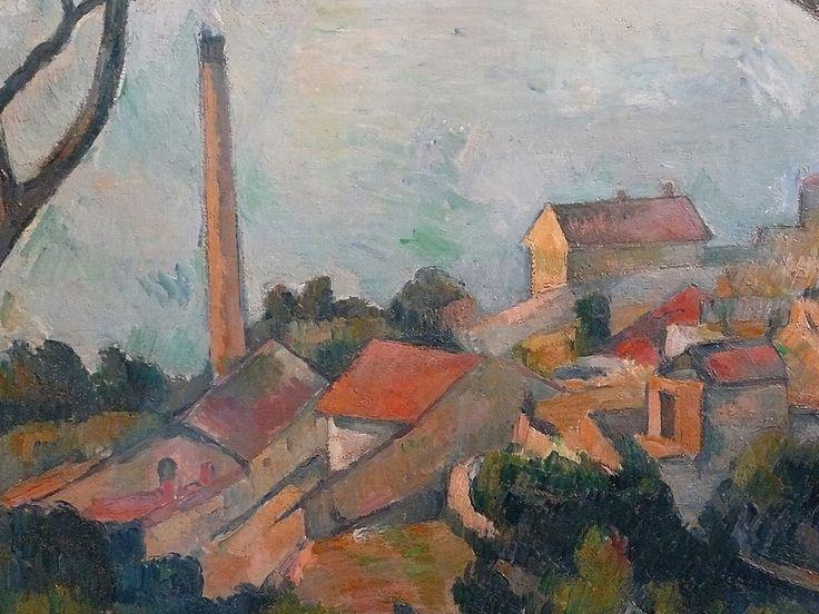 CEZANNE,1878-79 - Mer à l'Estaque, derrière les Arbres - Sea at l'Estaque (Musée Picasso) - Detail -b  -   Cézanne à Pissarro : « J'ai commencé deux petits motifs où il y a la mer, pour Monsieur Chocquet qui m'en avait parlé. – C'est comme une carte à jouer. Des toits rouges sur la mer bleue. Si le temps devient propice peut-être pourrais-je les pousser jusqu'au bout. En l'état je n'ai encore rien fait. » (L'Estaque, 2 juillet 1876)