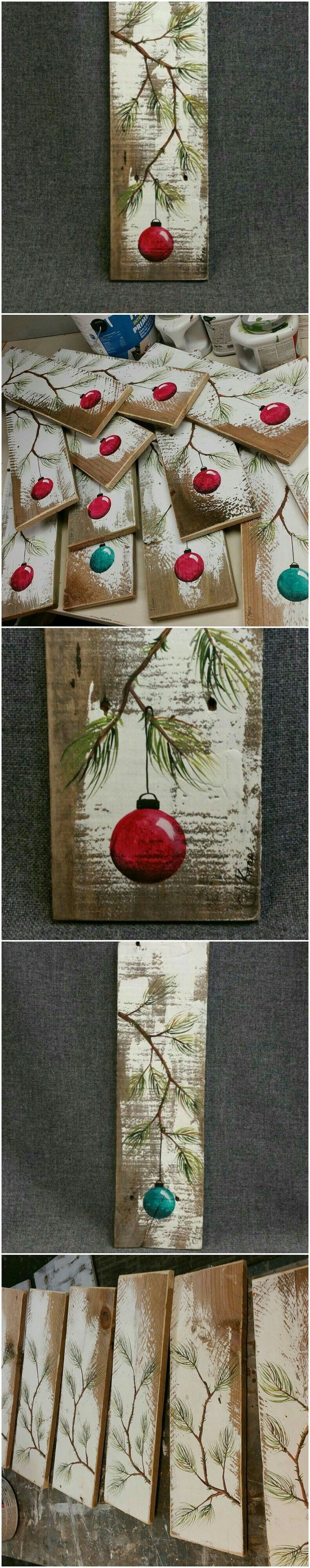 Reclaimed wood Christmas balls paintings, Christmas gift idea.