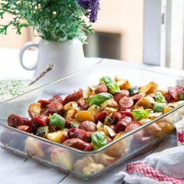 Ugnsgrillad korv och potatis