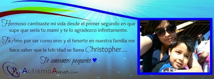 """Nos honra presentarle a Gaby Cabrera una madre luchadora y su ángel de amor Christopher.     """"Hermoso cambiaste mi vida desde el primer segundo en que supe que sería tu mami y te lo agradezco infinitamente. Te Amo por ser como eres y el tenerte en nuestra familia me hace saber que la felicidad se llama Christopher..... Te amamos pequeño"""" #quote #frase #facebookcover #amor"""