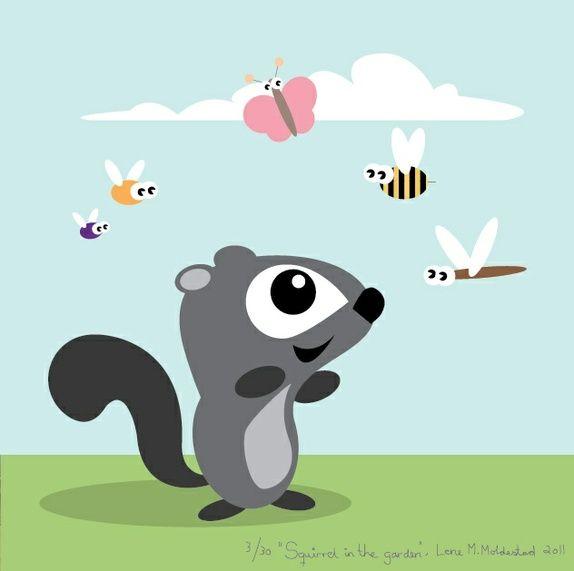 "Signert barneromsbilde / signed poster  - ""Squirrel in the garden"""