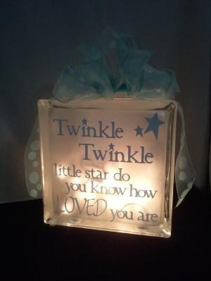 Decorative Glass Block Night Light for Baby's Room. $26.00, via Etsy. by octokat