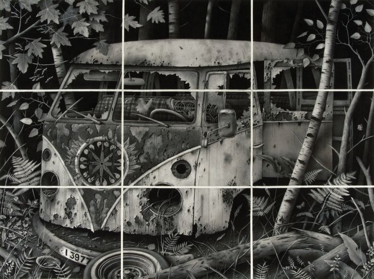 Sverre Malling (artist from Norway).Transporter '67. 2007 167 x 224 cm. Charcoal on paper.