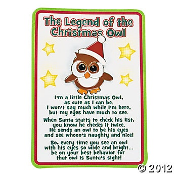 """""""The Legend Of The Christmas Owl""""...I sooo need to do this as an """"Elf on the Shelf"""" idea for my class! :)"""