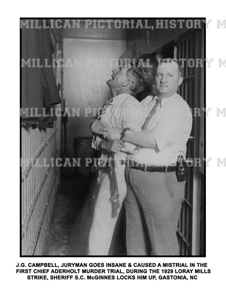 J.G. Campbell, juryman goes insane & caused a mistrial in the first Chief Aderholt Murder Trial in The 1929 Loray Mills Strike, Sheriff S.C. McGinnes locks him up, Gastonia, North Carolina – Millican Pictorial History Museum