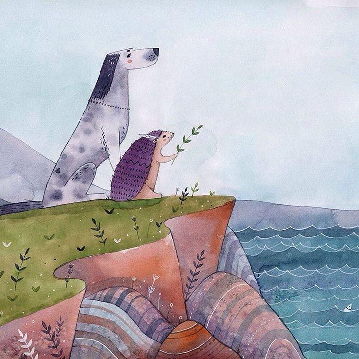 Ёжик и Дао - главные герои сказок Дом Меганом @dom_meganom #illustration #illustrator #watercolor #character #characterdesign #design #graphicdesign #graphic #photoshop #behance #dribbble #bestillustrations #destdesign #thedesigntip #dog #dao #hedgehog #sea #иллюстрация #иллюстратор #акварель #море #дао #ежик #собака #детицветов #хиппи #gypsy #hippie