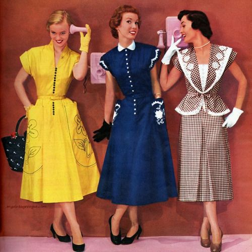 50s day dress yellow navy blue tan white polka dot suit jacket skirt color photo print ad models Vicky Vaughn Juniors 1951 | myvintagevogue