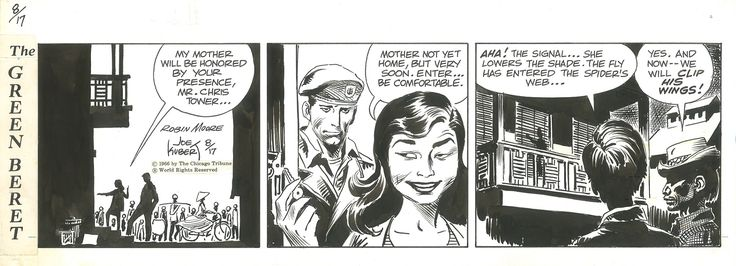 Tales of the Green Berets . Strips du 17 , 18 , 19 et 20 Aout 1966 . par Joe Kubert - Planche originale