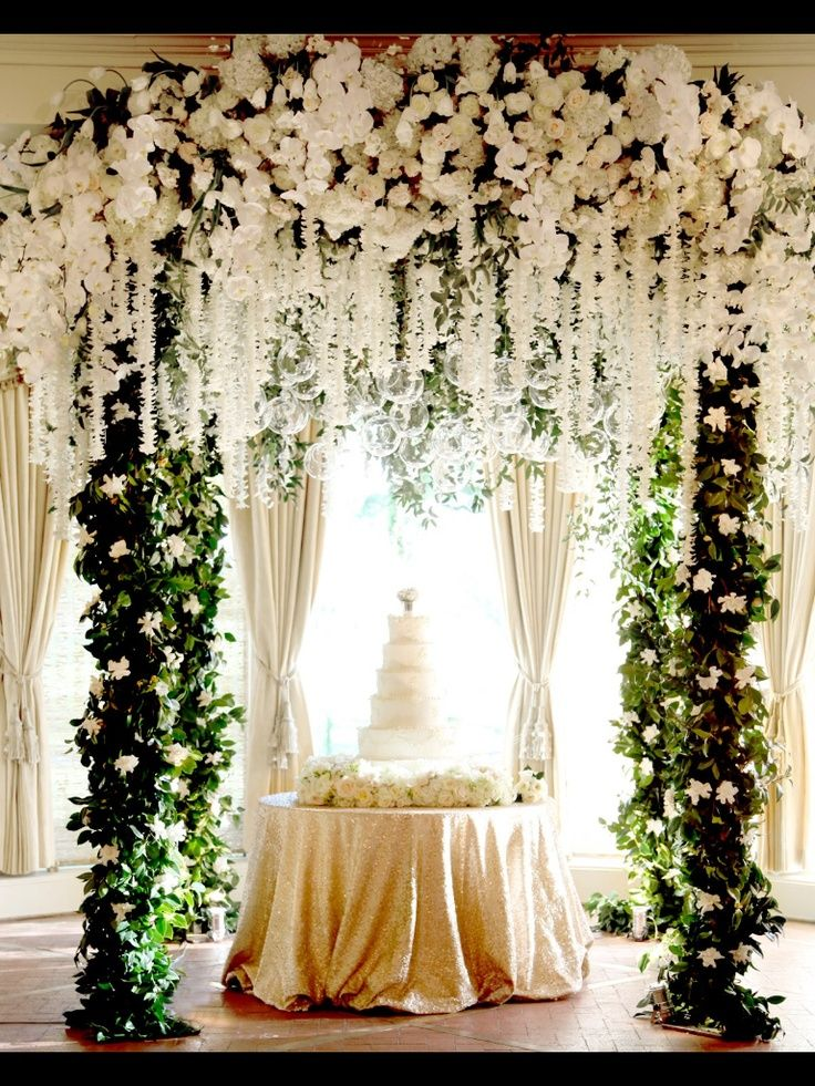 Opulence in design - an alter change into a cake table decor for reception <3