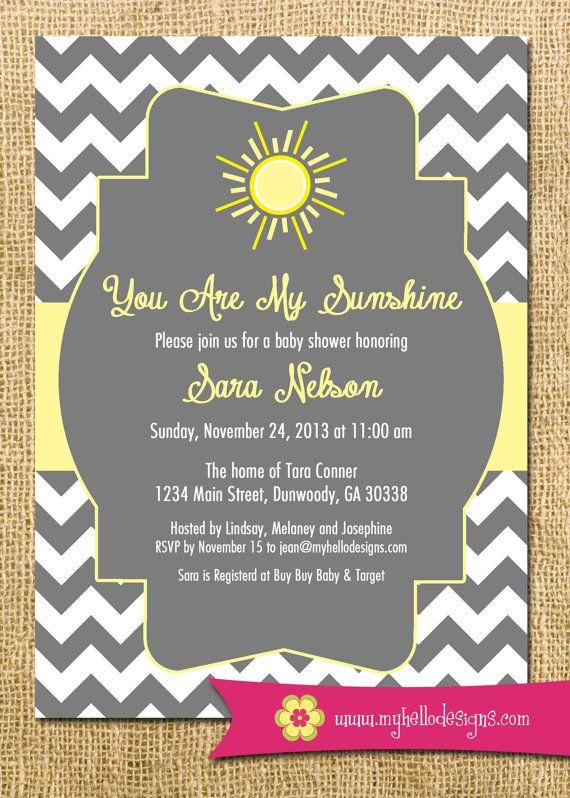 Printable Sunshine Invitation - You Are My Sunshine Invite DIY - sun sunshine chevron cheery baby shower invitation party any color birthday on Etsy, $15.00
