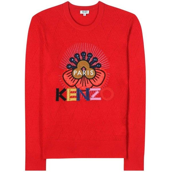 Kenzo Embellished Embroidered Wool Sweater ($395) ❤ liked on Polyvore featuring tops, sweaters, red, kenzo, embroidered sweaters, wool sweaters, embroidery top and kenzo sweater