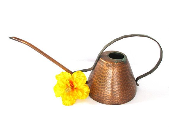 Copper Watering Can with Handle Midcentury Modern Style