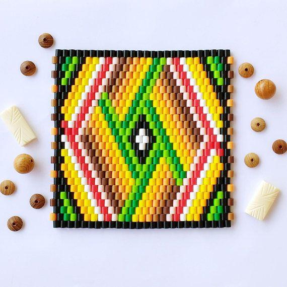 Perler Beads Table Coaster, Hama Peyote Mosaic Beading, Multicolored Beaded Pattern, Colorful Stripes, Diamond Shape, Home Decor Gift