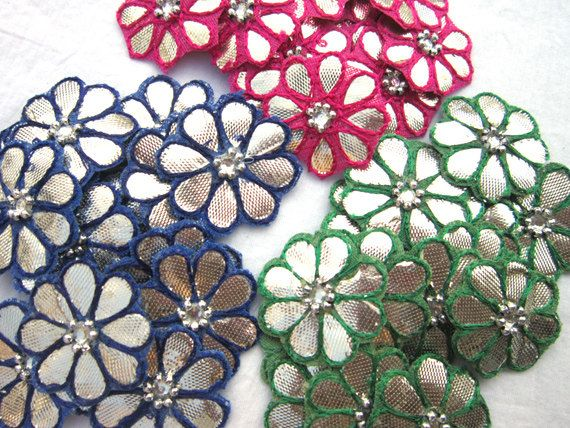 A set of 50 pieces handmade flower applique/patch