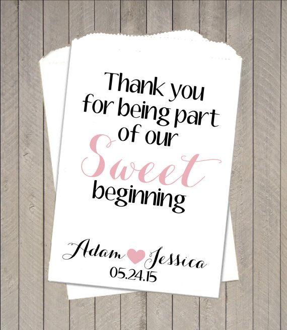 Sweet Beginning Buffet Candy Bags ~ Candy Buffet Takeaway Bags, Wedding Buffet Bags, Favors, Candy Bar Buffet Bag, Paper Bags- GH12