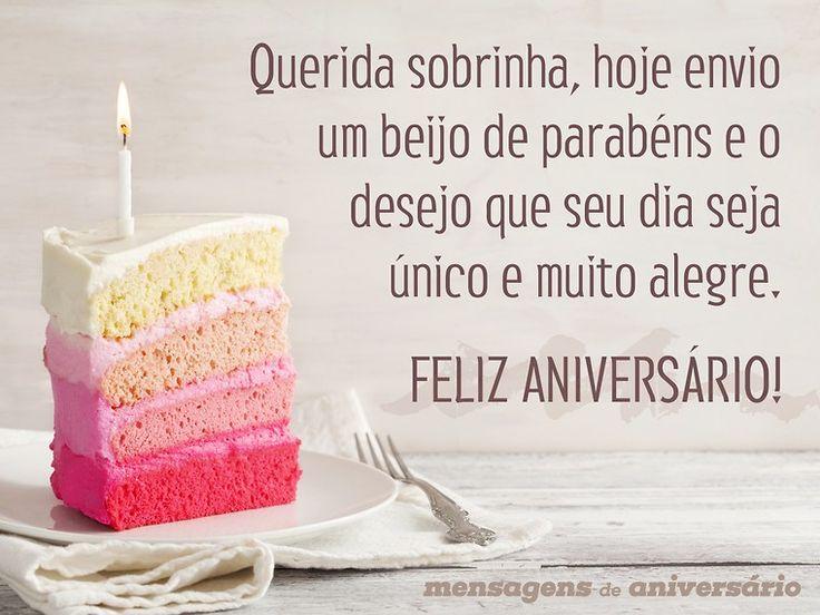 Querida sobrinha, hoje envio um beijo de parabéns e o desejo que seu dia seja único e muito alegre. Feliz aniversário! (...) https://www.mensagemaniversario.com.br/beijo-de-parabens-para-sobrinha/