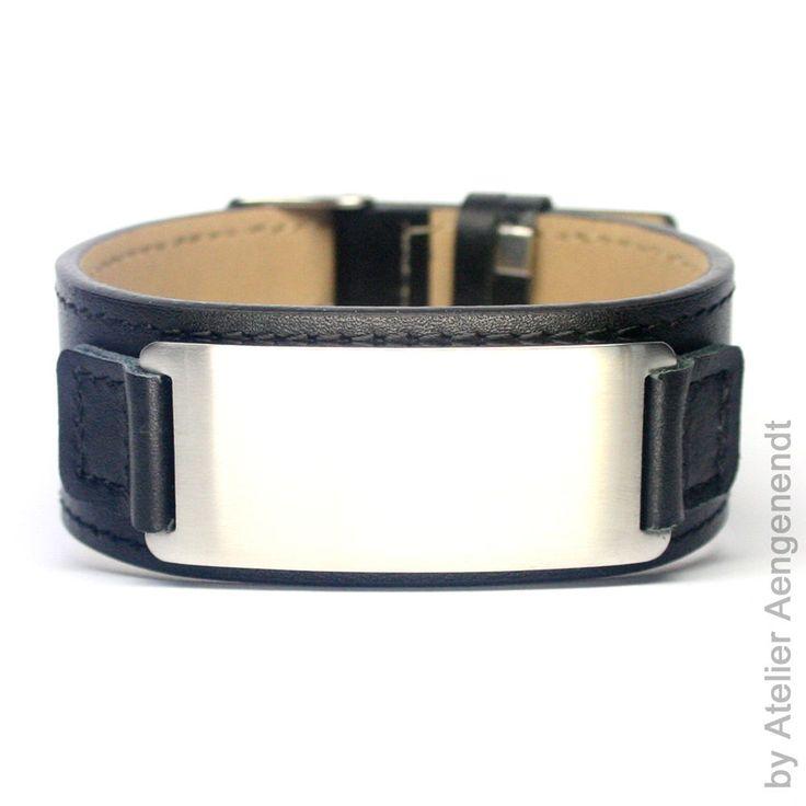 Armband aus Leder mit Gravur Herrenarmband Damenarmband Edelstahl Platte  LA-B2