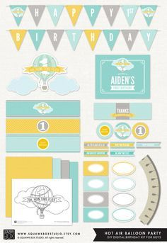 Hot Air Balloon Party Set for Boys or Girls by SquawkBoxStudio